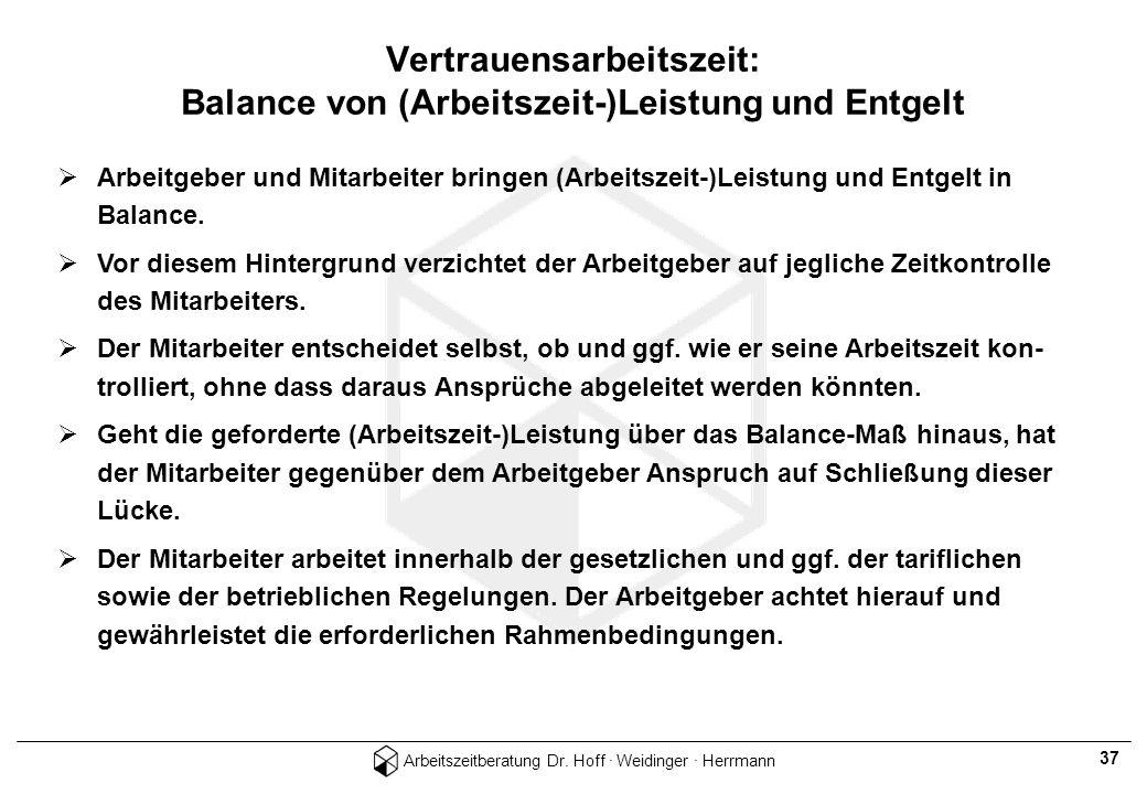 Arbeitszeitberatung Dr. Hoff · Weidinger · Herrmann 37 Arbeitgeber und Mitarbeiter bringen (Arbeitszeit-)Leistung und Entgelt in Balance. Vor diesem H