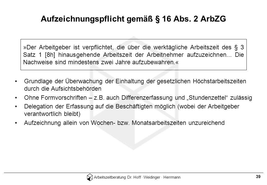 Arbeitszeitberatung Dr. Hoff · Weidinger · Herrmann 39 Aufzeichnungspflicht gemäß § 16 Abs. 2 ArbZG Grundlage der Überwachung der Einhaltung der geset