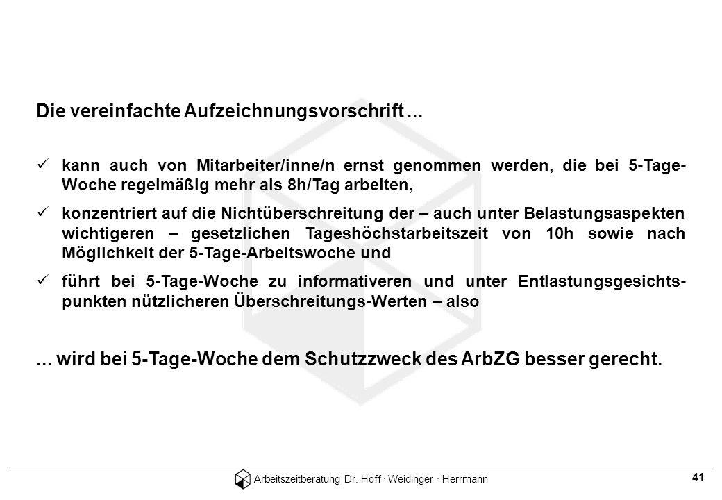 Arbeitszeitberatung Dr. Hoff · Weidinger · Herrmann 41 Die vereinfachte Aufzeichnungsvorschrift... kann auch von Mitarbeiter/inne/n ernst genommen wer