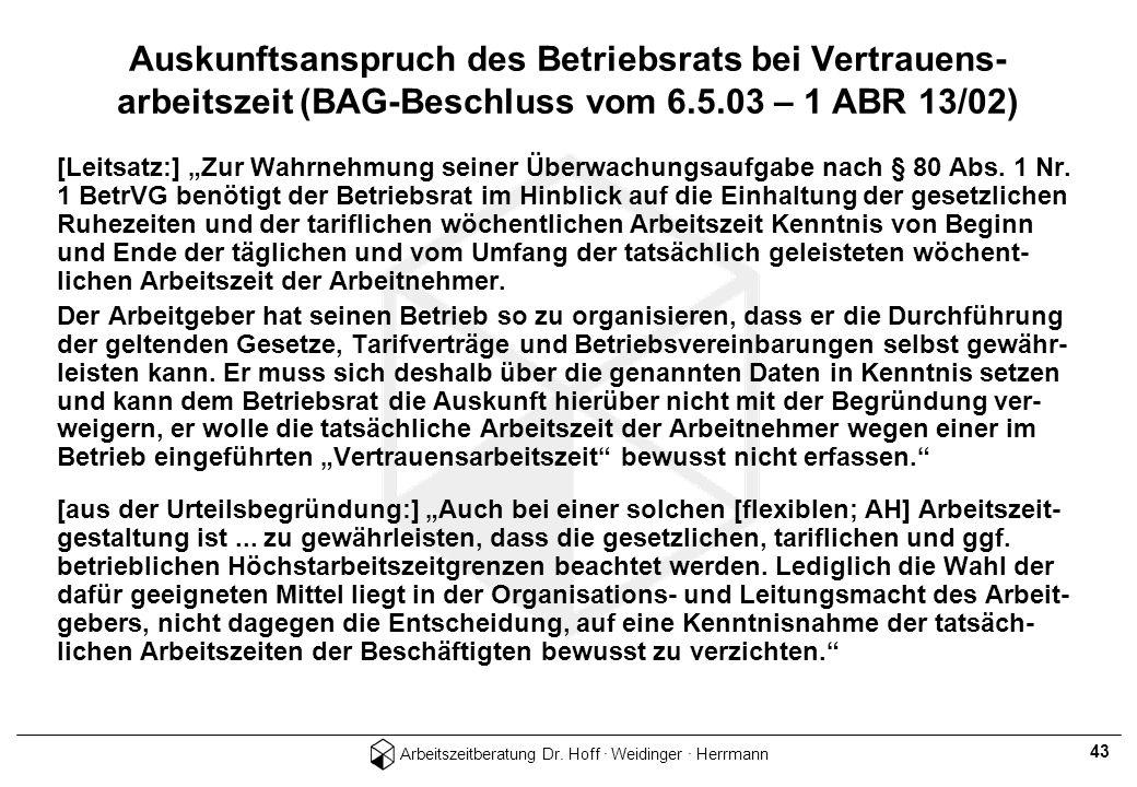 Arbeitszeitberatung Dr. Hoff · Weidinger · Herrmann 43 Auskunftsanspruch des Betriebsrats bei Vertrauens- arbeitszeit (BAG-Beschluss vom 6.5.03 – 1 AB