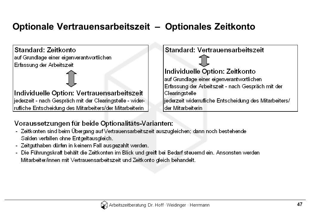 Arbeitszeitberatung Dr. Hoff · Weidinger · Herrmann 47 Optionale Vertrauensarbeitszeit – Optionales Zeitkonto