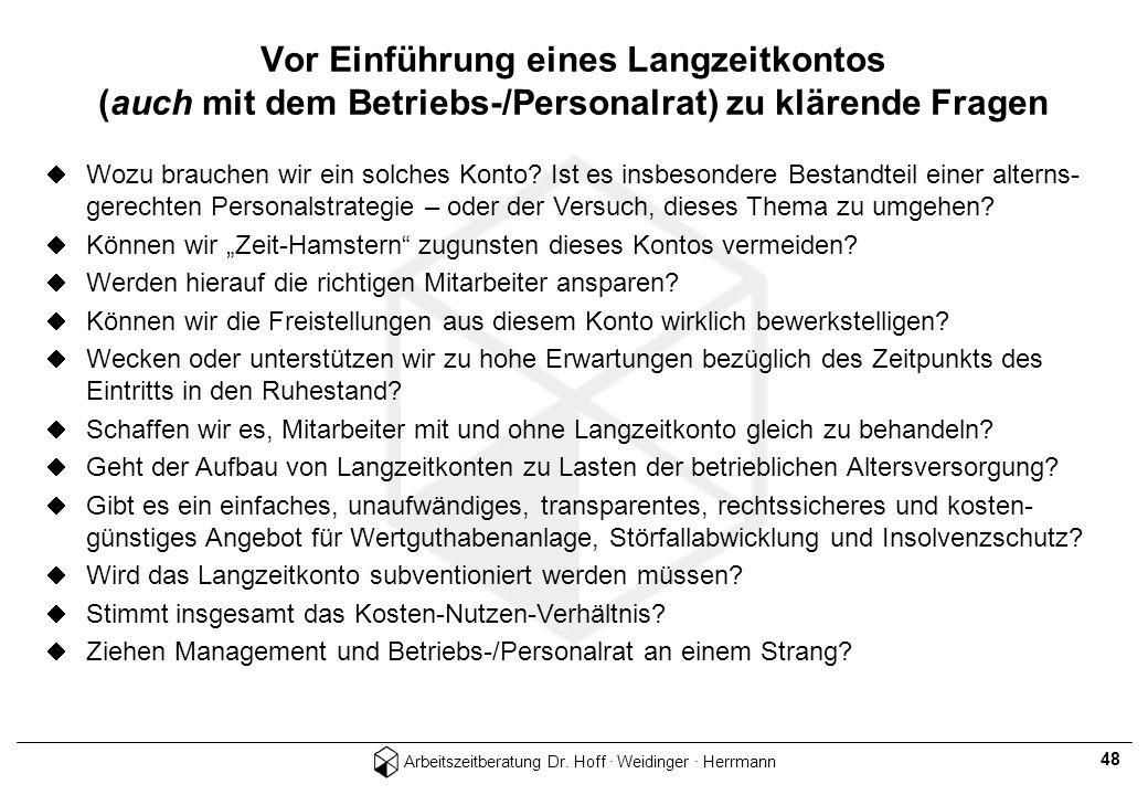 Arbeitszeitberatung Dr. Hoff · Weidinger · Herrmann 48 Wozu brauchen wir ein solches Konto? Ist es insbesondere Bestandteil einer alterns- gerechten P