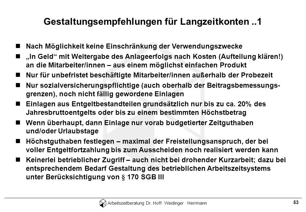 Arbeitszeitberatung Dr. Hoff · Weidinger · Herrmann 53 Nach Möglichkeit keine Einschränkung der Verwendungszwecke In Geld mit Weitergabe des Anlageerf