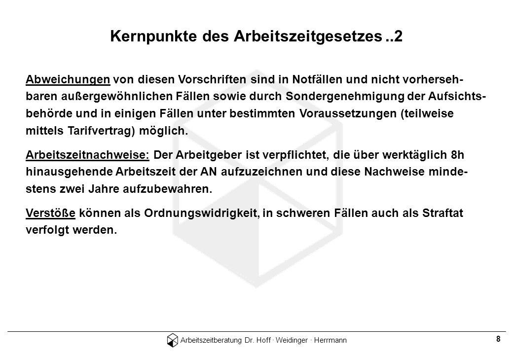 Arbeitszeitberatung Dr. Hoff · Weidinger · Herrmann 8 Abweichungen von diesen Vorschriften sind in Notfällen und nicht vorherseh- baren außergewöhnlic