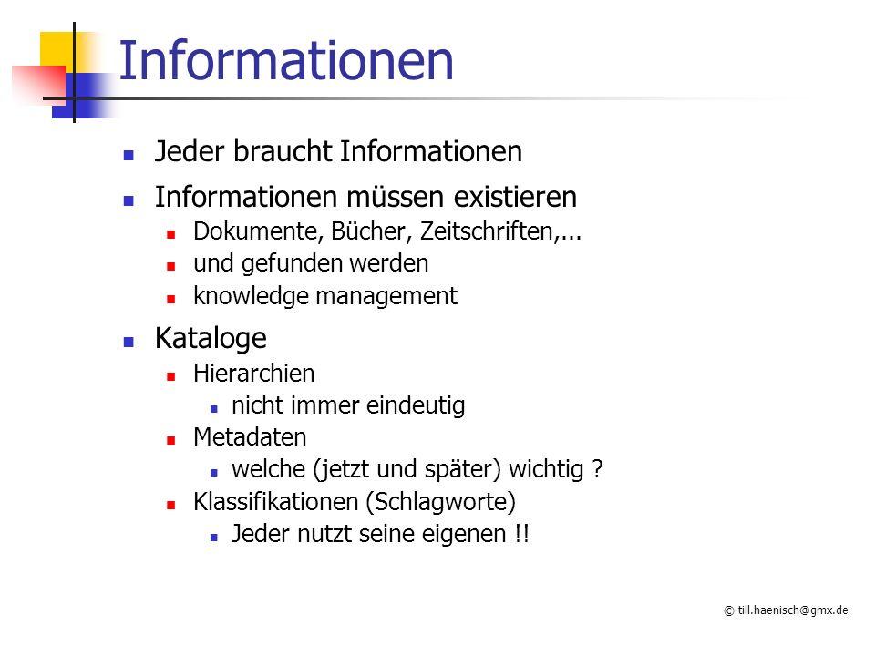 © till.haenisch@gmx.de Methoden Auswahl im Tag xxx=GET xxx=POST GET maximale Länge von Parametern beschränkt Probleme bei Sonderzeichen (blank,...) URL encoding können als Bookmark gespeichert werden besser nicht für Bestellungen,...