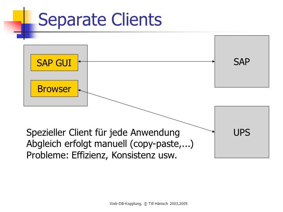 Web-DB-Kopplung, © Till Hänisch 2003,2005 Separate Clients SAP UPS SAP GUI Browser Spezieller Client für jede Anwendung Abgleich erfolgt manuell (copy-paste,...) Probleme: Effizienz, Konsistenz usw.