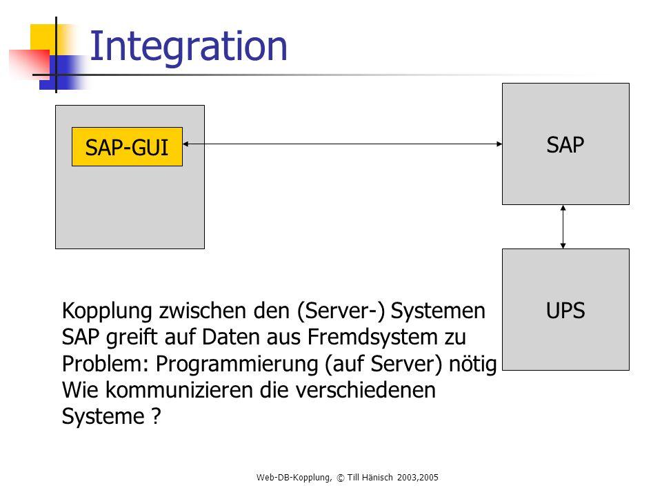 Web-DB-Kopplung, © Till Hänisch 2003,2005 Integration SAP UPS SAP-GUI Kopplung zwischen den (Server-) Systemen SAP greift auf Daten aus Fremdsystem zu Problem: Programmierung (auf Server) nötig Wie kommunizieren die verschiedenen Systeme ?