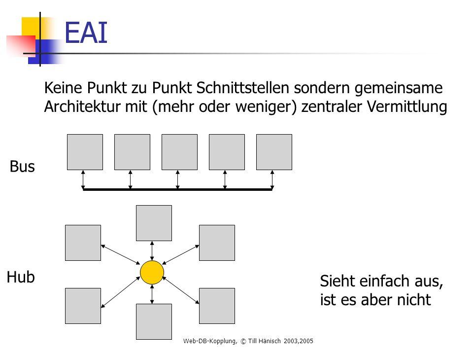 Web-DB-Kopplung, © Till Hänisch 2003,2005 EAI Keine Punkt zu Punkt Schnittstellen sondern gemeinsame Architektur mit (mehr oder weniger) zentraler Vermittlung Bus Hub Sieht einfach aus, ist es aber nicht