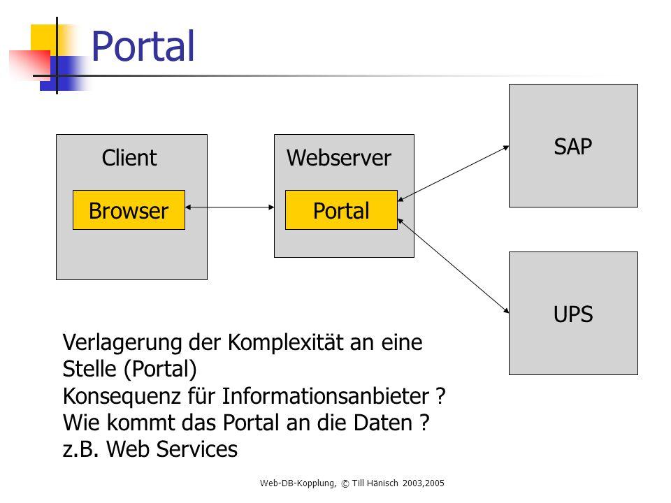 Web-DB-Kopplung, © Till Hänisch 2003,2005 Portal SAP UPS Browser Verlagerung der Komplexität an eine Stelle (Portal) Konsequenz für Informationsanbieter .