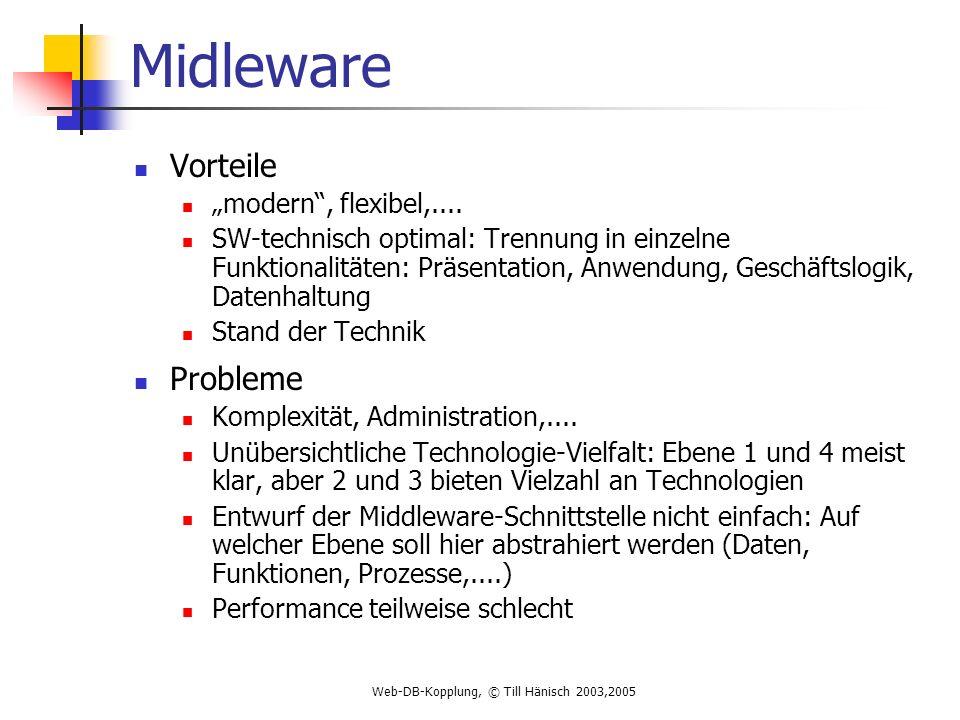 Web-DB-Kopplung, © Till Hänisch 2003,2005 Midleware Vorteile modern, flexibel,....