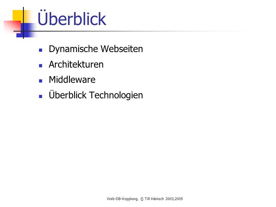 Web-DB-Kopplung, © Till Hänisch 2003,2005 Überblick Dynamische Webseiten Architekturen Middleware Überblick Technologien