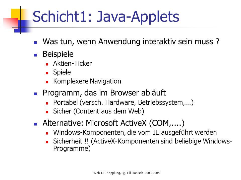 Web-DB-Kopplung, © Till Hänisch 2003,2005 Schicht1: Java-Applets Was tun, wenn Anwendung interaktiv sein muss .