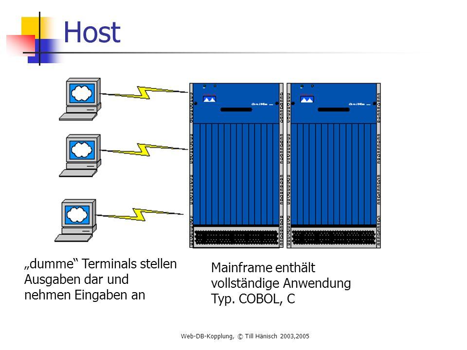 Web-DB-Kopplung, © Till Hänisch 2003,2005 Host Mainframe enthält vollständige Anwendung Typ.