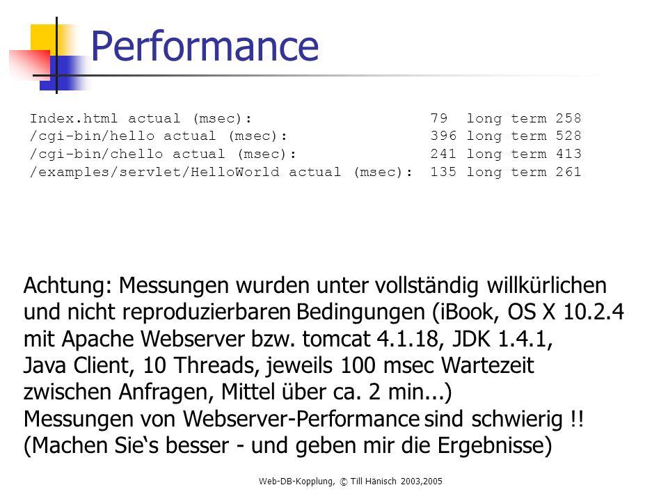 Web-DB-Kopplung, © Till Hänisch 2003,2005 Performance Index.html actual (msec): 79 long term 258 /cgi-bin/hello actual (msec): 396 long term 528 /cgi-bin/chello actual (msec): 241 long term 413 /examples/servlet/HelloWorld actual (msec): 135 long term 261 Achtung: Messungen wurden unter vollständig willkürlichen und nicht reproduzierbaren Bedingungen (iBook, OS X 10.2.4 mit Apache Webserver bzw.
