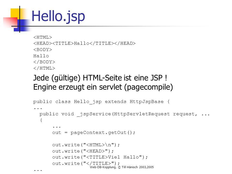 Web-DB-Kopplung, © Till Hänisch 2003,2005 Hello.jsp Hallo Hallo Jede (gültige) HTML-Seite ist eine JSP .