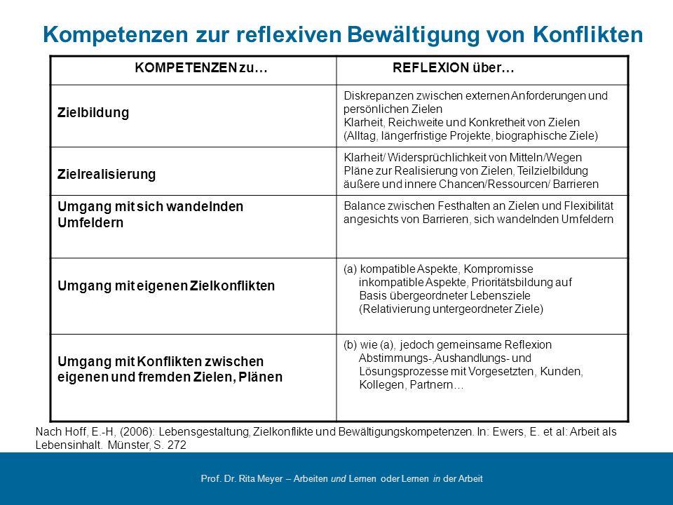 Prof. Dr. Rita Meyer – Arbeiten und Lernen oder Lernen in der Arbeit KOMPETENZEN zu… REFLEXION über… Zielbildung Diskrepanzen zwischen externen Anford