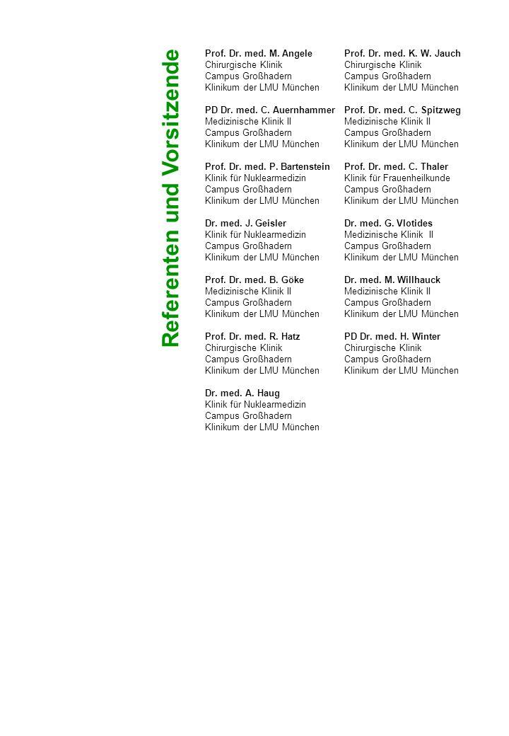 Interdisziplinäres Schilddrüsenzentrum am Klinikum der Universität München - Campus Großhadern (ISKUM) mit den beteiligten Kliniken Medizinische Klinik II - Großhadern Klinik für Nuklearmedizin - Großhadern Chirurgische Klinik - Großhadern Pathologisches Institut der LMU Assoziierte Kliniken: Institut für Klinische Radiologie - Großhadern Medizinische Klinik III - Großhadern Institut für Klinische Chemie - Großhadern Klinik für Strahlentherapie und Radioonkologie - Großhadern Augenklinik der Universität München Klinik für Frauenheilkunde und Geburtshilfe - Großhadern Interdisziplinäres Zentrum für Palliativmedizin - Großhadern Medizinische Klinik IV - Innenstadt Chirurgische Klinik - Innenstadt Veranstalter