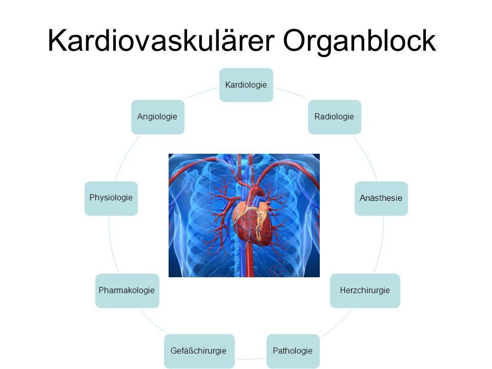 CV-Block Lernzielkatalog Modul 23 CV-Organblock Block-orientierte Ziele: Der Student soll die Angriffspunkte der in den Tutorials erwähnten Arzneimittel kennen unerwünschte Wirkungen von Arzneimitteln am Herzen an Beispielen erklären: Tachykarde + bradykarde Rhythmusstörungen, Überleitungsstörungen, longQT-Syndrom, QRS Verbreiterung pharmakotherapeutische Intervention beim ACS erklären und wichtige Wirkstoffe mit Beispielen benennen die Standardmedikamente zur Behandlung einer Herzinsuffizienz benennen die Standardmedikamente zur Prophylaxe und Therapie thromboembolischer Ereignisse benennen die Standardmedikamente zur Behandlung einer Endokarditis benennen klinisch pharmakologische Fall-Diskussion