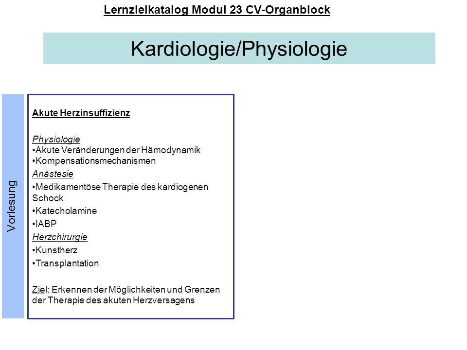 Kardiologie/Physiologie Lernzielkatalog Modul 23 CV-Organblock Akute Herzinsuffizienz Physiologie Akute Veränderungen der Hämodynamik Kompensationsmec