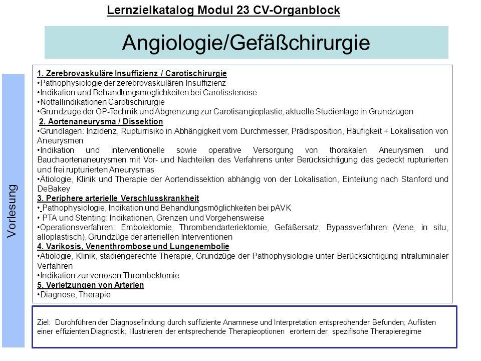Angiologie/Gefäßchirurgie Lernzielkatalog Modul 23 CV-Organblock Vorlesung 1. Zerebrovaskuläre Insuffizienz / Carotischirurgie Pathophysiologie der ze