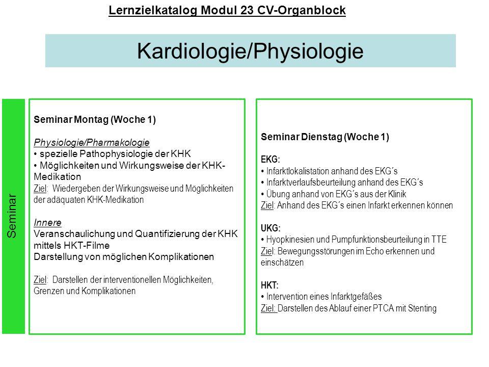 Kardiologie/Physiologie Lernzielkatalog Modul 23 CV-Organblock Seminar Montag (Woche 1) Physiologie/Pharmakologie spezielle Pathophysiologie der KHK M