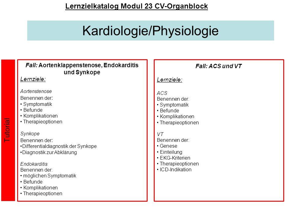 Kardiologie/Physiologie Lernzielkatalog Modul 23 CV-Organblock Fall: Aortenklappenstenose, Endokarditis und Synkope Lernziele: Aortenstenose Benennen