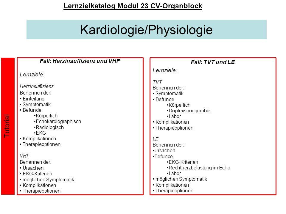 Kardiologie/Physiologie Lernzielkatalog Modul 23 CV-Organblock Fall: Herzinsuffizienz und VHF Lernziele: Herzinsuffizienz Benennen der : Einteilung Sy