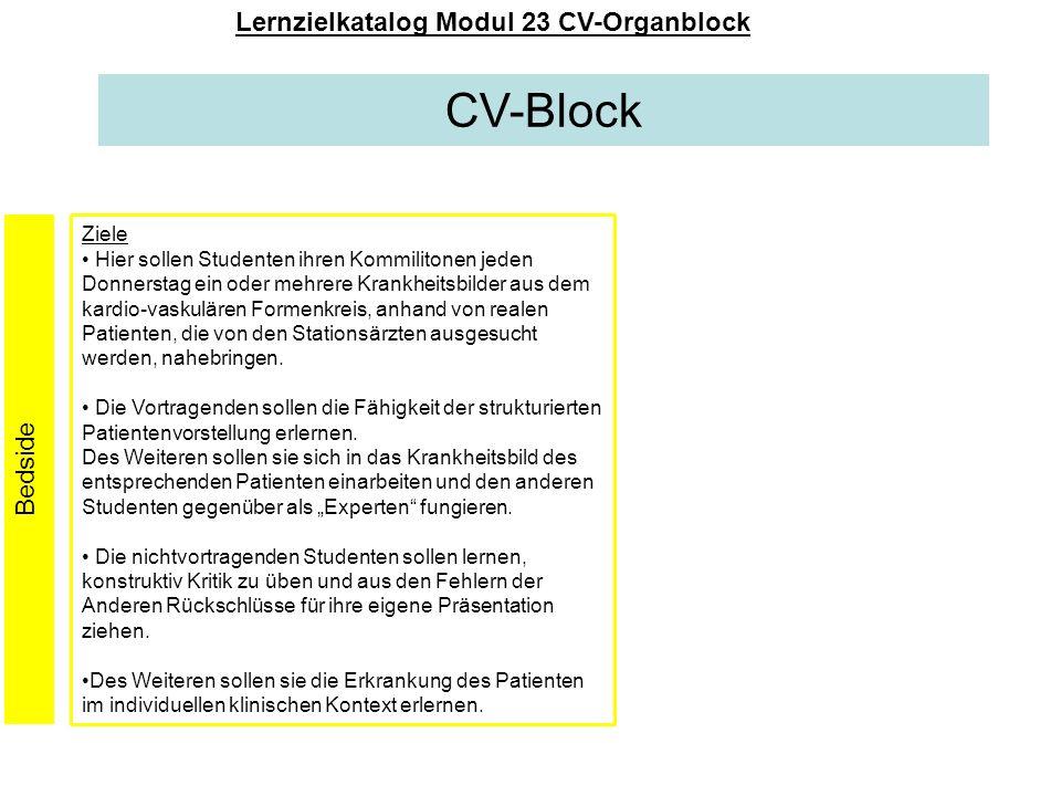 CV-Block Lernzielkatalog Modul 23 CV-Organblock Ziele Hier sollen Studenten ihren Kommilitonen jeden Donnerstag ein oder mehrere Krankheitsbilder aus
