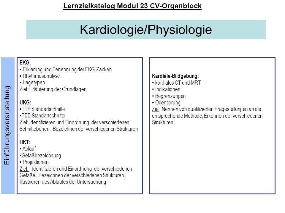 Kardiologie/Physiologie Lernzielkatalog Modul 23 CV-Organblock EKG: Erklärung und Benennung der EKG-Zacken Rhythmusanalyse Lagetypen Ziel: Erläuterung