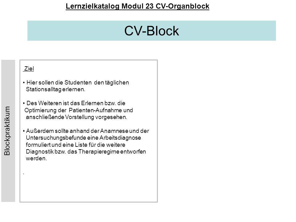CV-Block Lernzielkatalog Modul 23 CV-Organblock Ziel Hier sollen die Studenten den täglichen Stationsalltag erlernen. Des Weiteren ist das Erlernen bz