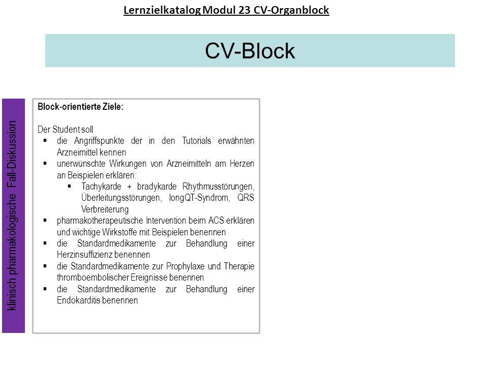 CV-Block Lernzielkatalog Modul 23 CV-Organblock Block-orientierte Ziele: Der Student soll die Angriffspunkte der in den Tutorials erwähnten Arzneimitt