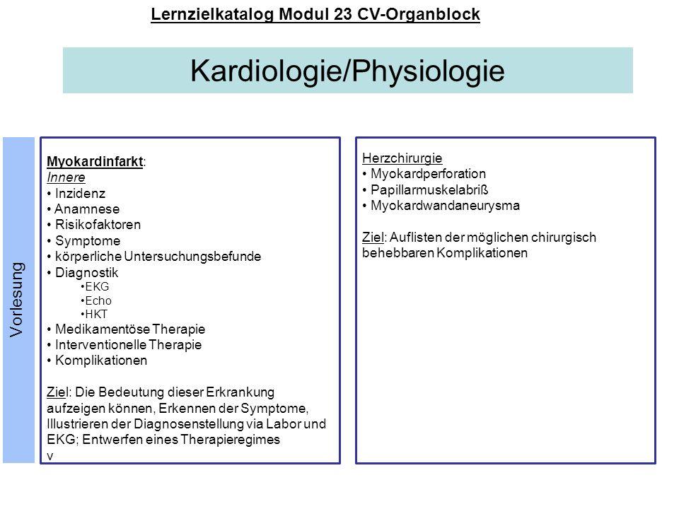 Kardiologie/Physiologie Lernzielkatalog Modul 23 CV-Organblock Myokardinfarkt: Innere Inzidenz Anamnese Risikofaktoren Symptome körperliche Untersuchu