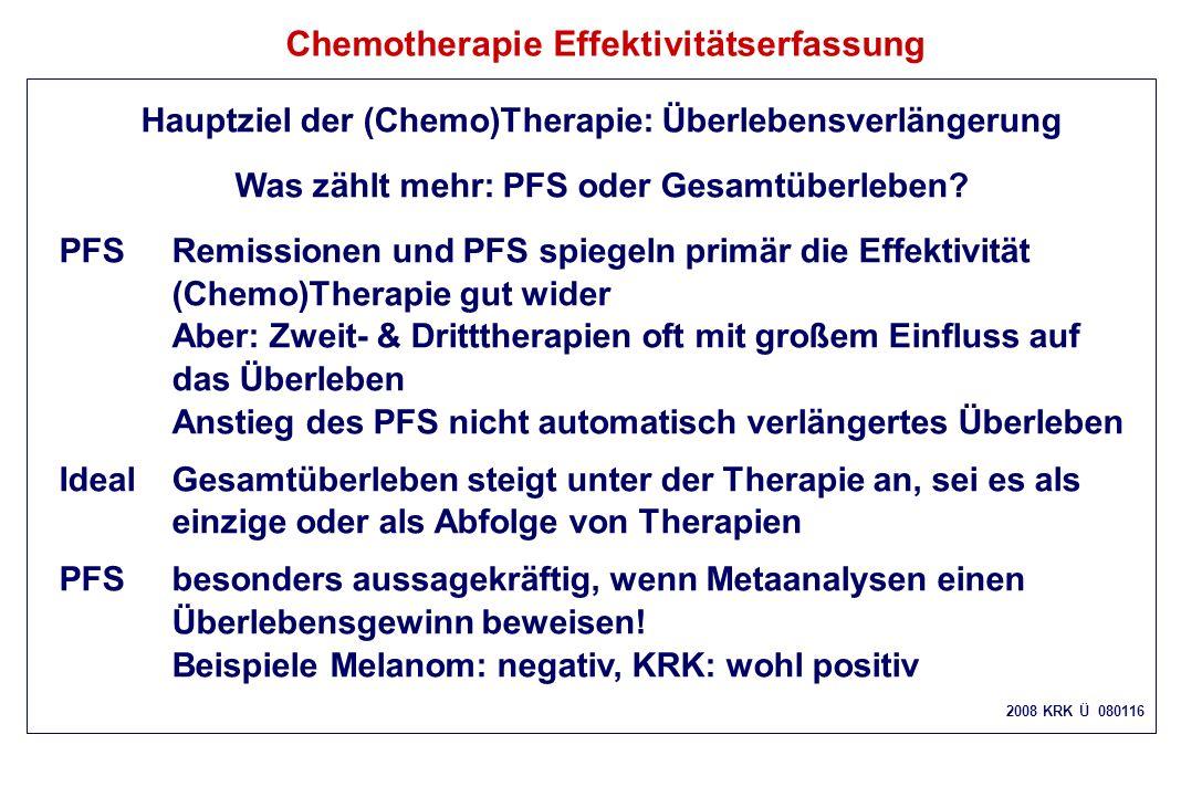 Chemotherapie Effektivitätserfassung Hauptziel der (Chemo)Therapie: Überlebensverlängerung Was zählt mehr: PFS oder Gesamtüberleben? PFSRemissionen un