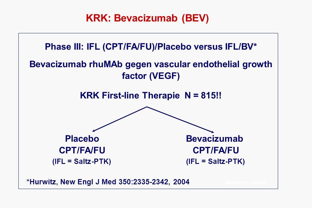KRK: Bevacizumab (BEV) Phase III: IFL (CPT/FA/FU)/Placebo versus IFL/BV* Bevacizumab rhuMAb gegen vascular endothelial growth factor (VEGF) KRK First-