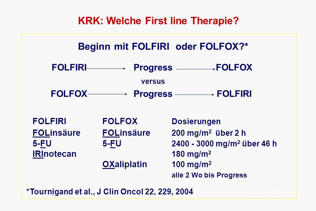 KRK: Welche First line Therapie? Beginn mit FOLFIRI oder FOLFOX?* FOLFIRIProgressFOLFOX versus FOLFOXProgressFOLFIRI FOLFIRIFOLFOX Dosierungen FOLinsä