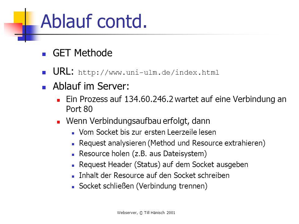 Webserver, © Till Hänisch 2001 Ablauf contd. GET Methode URL: http://www.uni-ulm.de/index.html Ablauf im Server: Ein Prozess auf 134.60.246.2 wartet a
