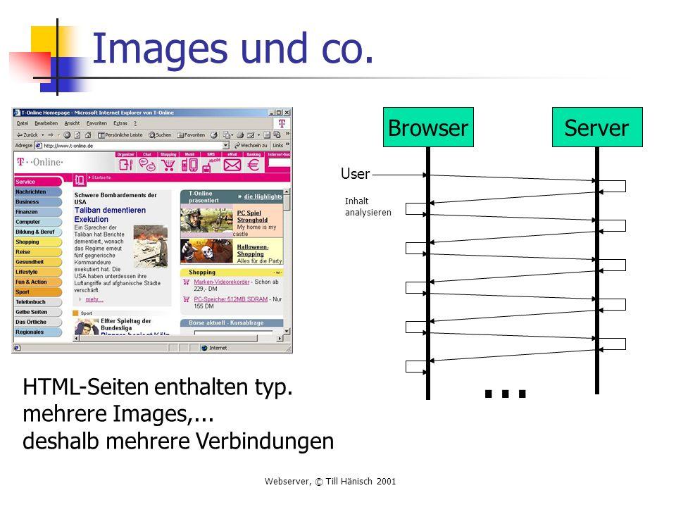 Webserver, © Till Hänisch 2001 Images und co. BrowserServer User Inhalt analysieren... HTML-Seiten enthalten typ. mehrere Images,... deshalb mehrere V