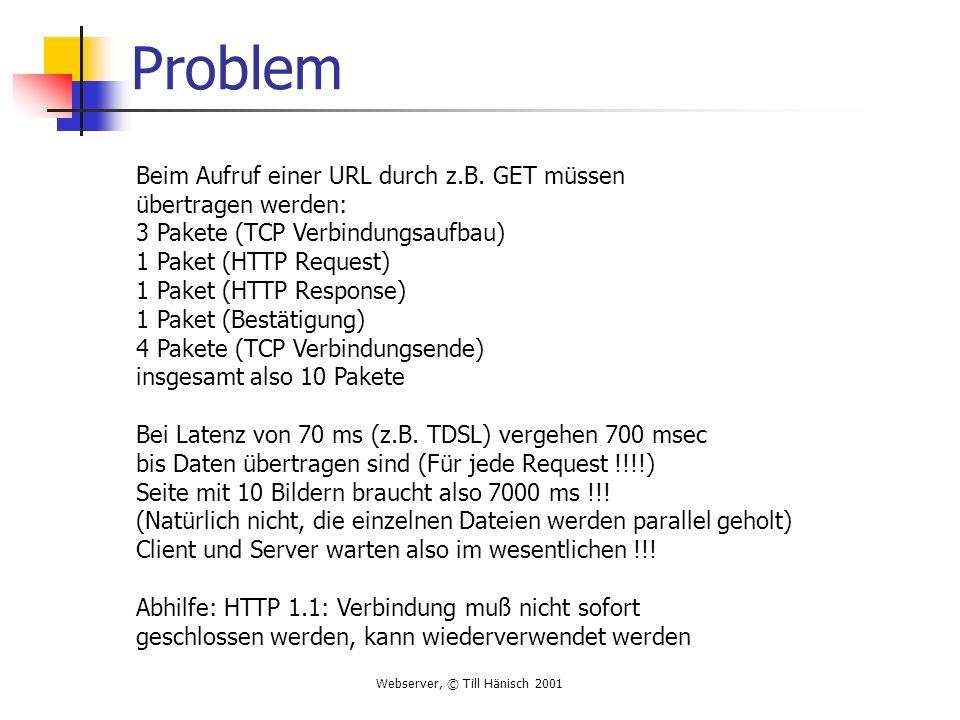 Webserver, © Till Hänisch 2001 Problem Beim Aufruf einer URL durch z.B. GET müssen übertragen werden: 3 Pakete (TCP Verbindungsaufbau) 1 Paket (HTTP R
