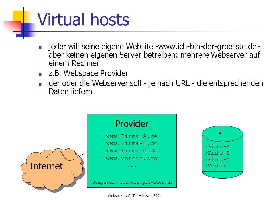 Webserver, © Till Hänisch 2001 Virtual hosts jeder will seine eigene Website -www.ich-bin-der-groesste.de - aber keinen eigenen Server betreiben: mehr