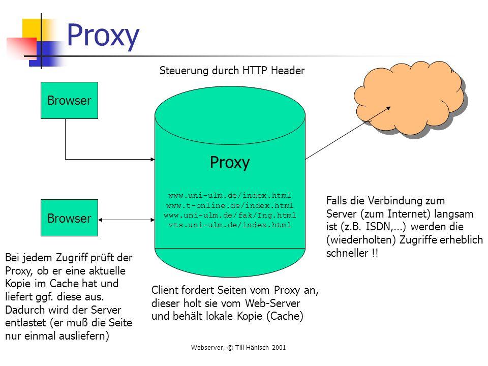 Webserver, © Till Hänisch 2001 Proxy Browser Proxy www.uni-ulm.de/index.html www.t-online.de/index.html www.uni-ulm.de/fak/Ing.html vts.uni-ulm.de/ind