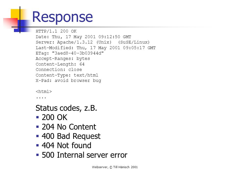 Webserver, © Till Hänisch 2001 Uniform Resource Locator Verweis auf eine Resource, enthält Protokoll (z.B.