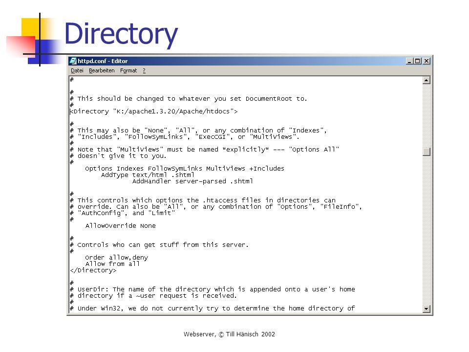 Webserver, © Till Hänisch 2002 Directory