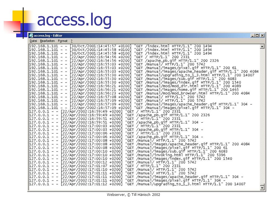 Webserver, © Till Hänisch 2002 access.log