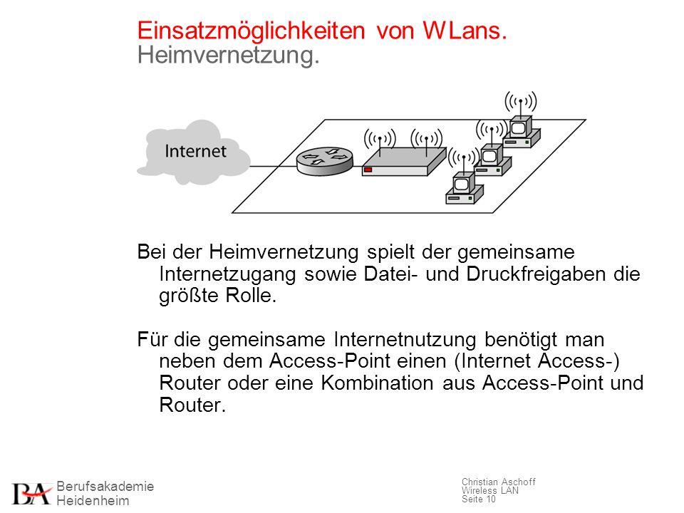 Berufsakademie Heidenheim Christian Aschoff Wireless LAN Seite 10 Einsatzmöglichkeiten von WLans. Heimvernetzung. Bei der Heimvernetzung spielt der ge