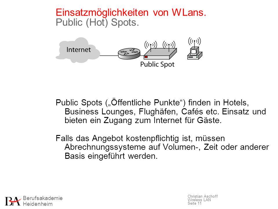 Berufsakademie Heidenheim Christian Aschoff Wireless LAN Seite 11 Einsatzmöglichkeiten von WLans. Public (Hot) Spots. Public Spots (Öffentliche Punkte