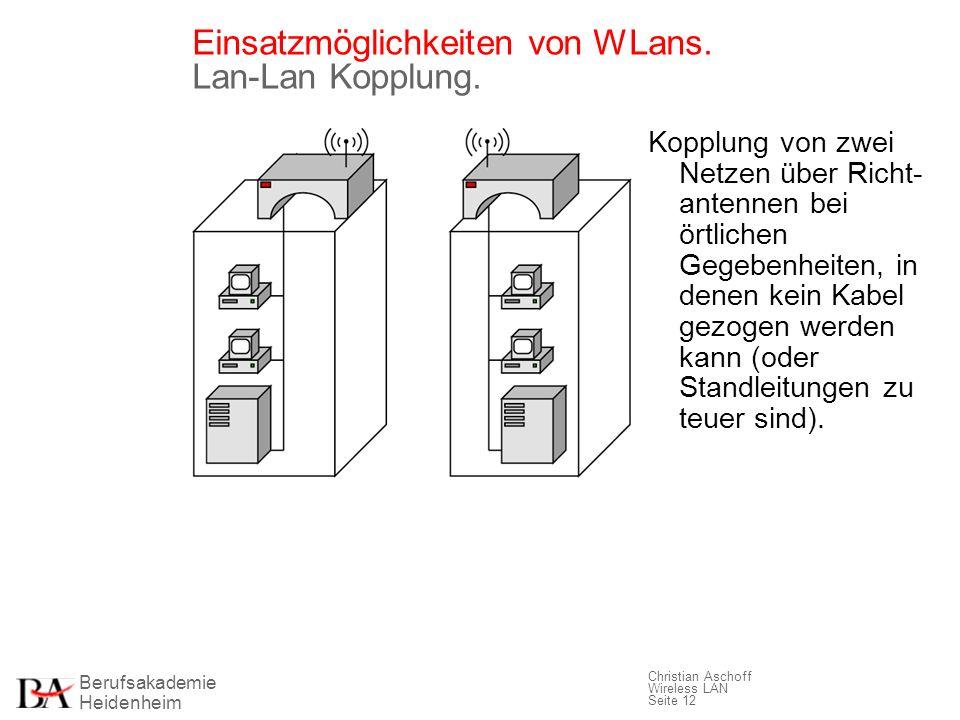 Berufsakademie Heidenheim Christian Aschoff Wireless LAN Seite 12 Einsatzmöglichkeiten von WLans. Lan-Lan Kopplung. Kopplung von zwei Netzen über Rich