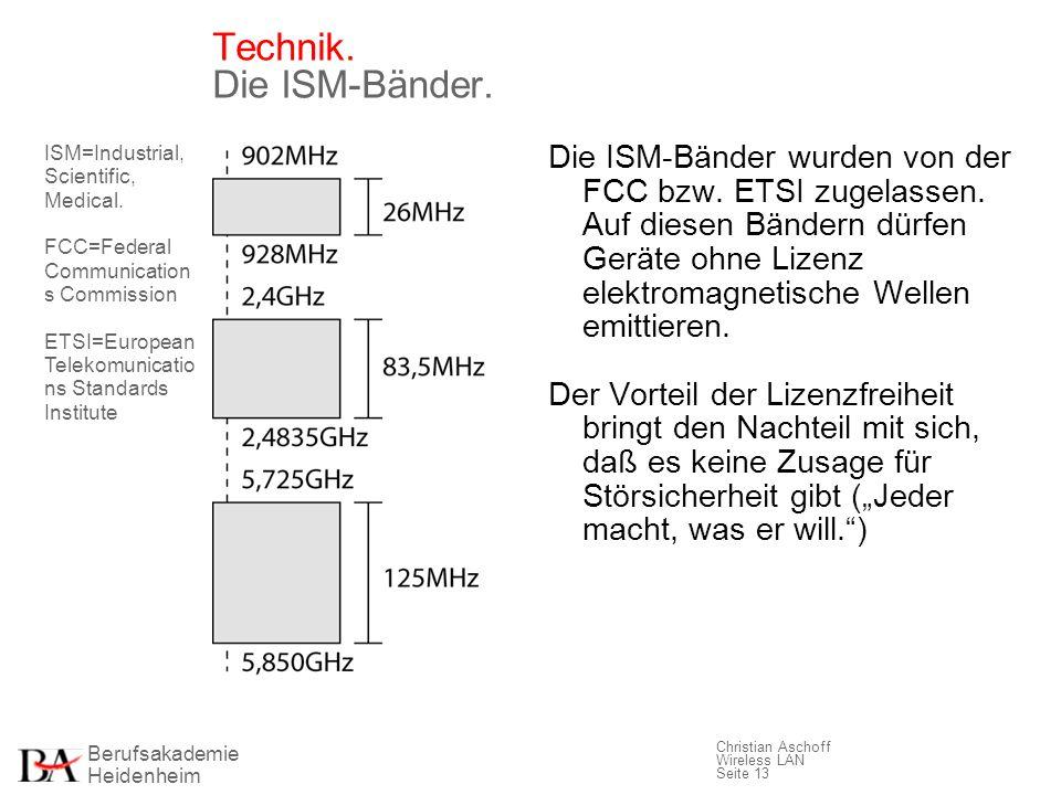 Berufsakademie Heidenheim Christian Aschoff Wireless LAN Seite 13 Technik. Die ISM-Bänder. Die ISM-Bänder wurden von der FCC bzw. ETSI zugelassen. Auf