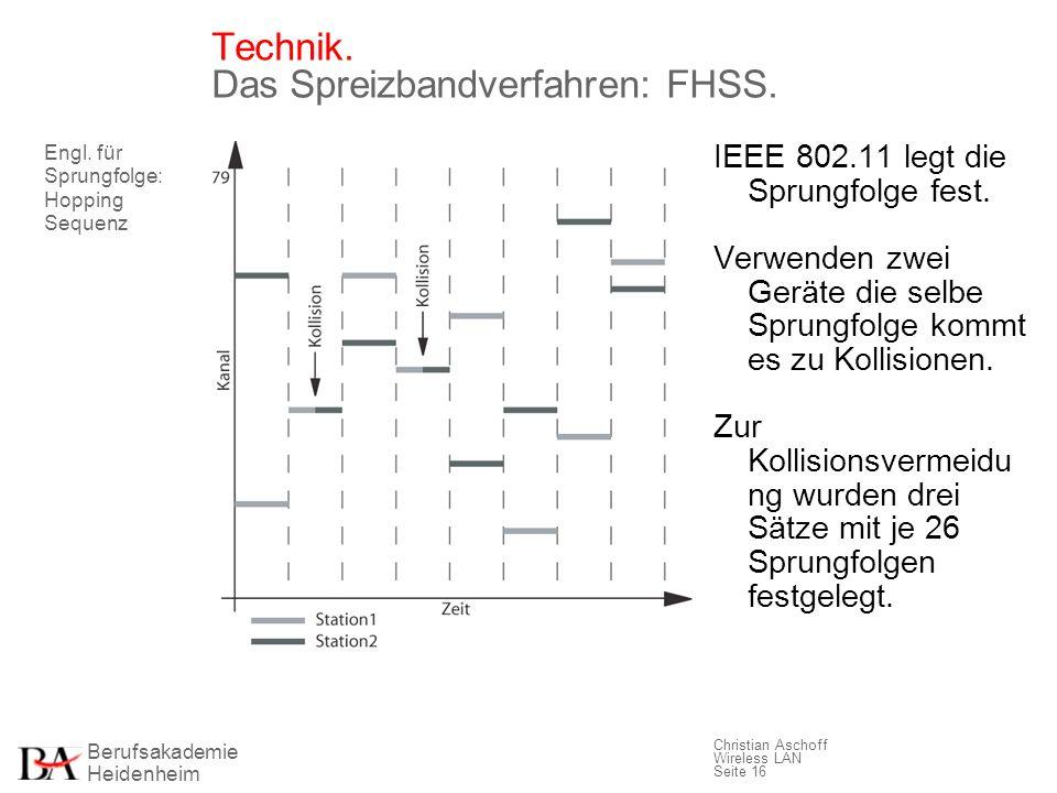 Berufsakademie Heidenheim Christian Aschoff Wireless LAN Seite 16 Technik. Das Spreizbandverfahren: FHSS. IEEE 802.11 legt die Sprungfolge fest. Verwe