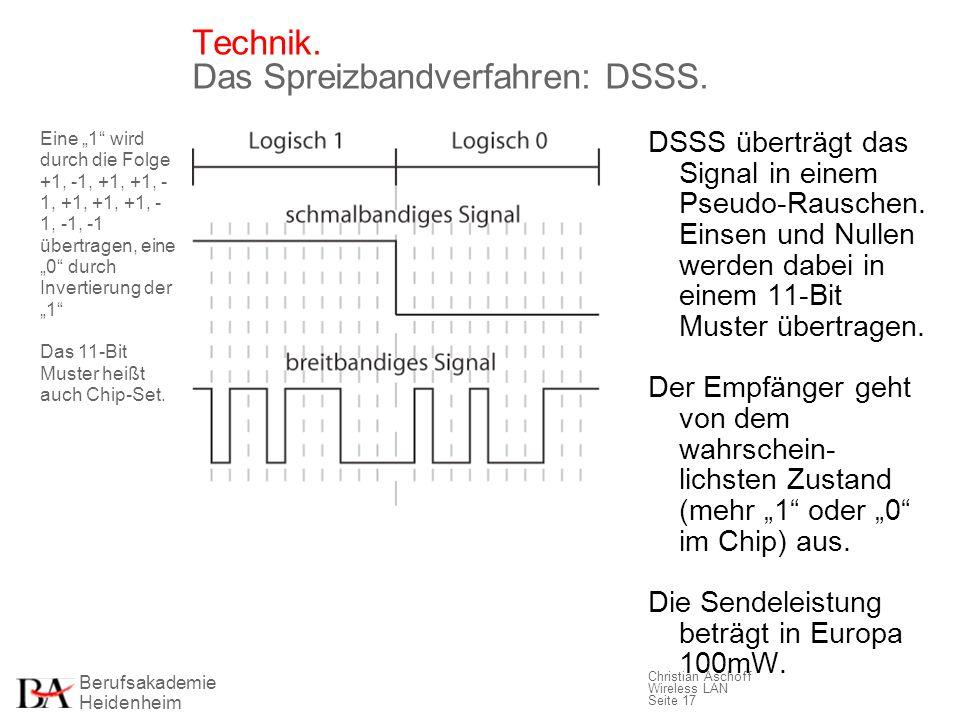 Berufsakademie Heidenheim Christian Aschoff Wireless LAN Seite 17 Technik. Das Spreizbandverfahren: DSSS. DSSS überträgt das Signal in einem Pseudo-Ra