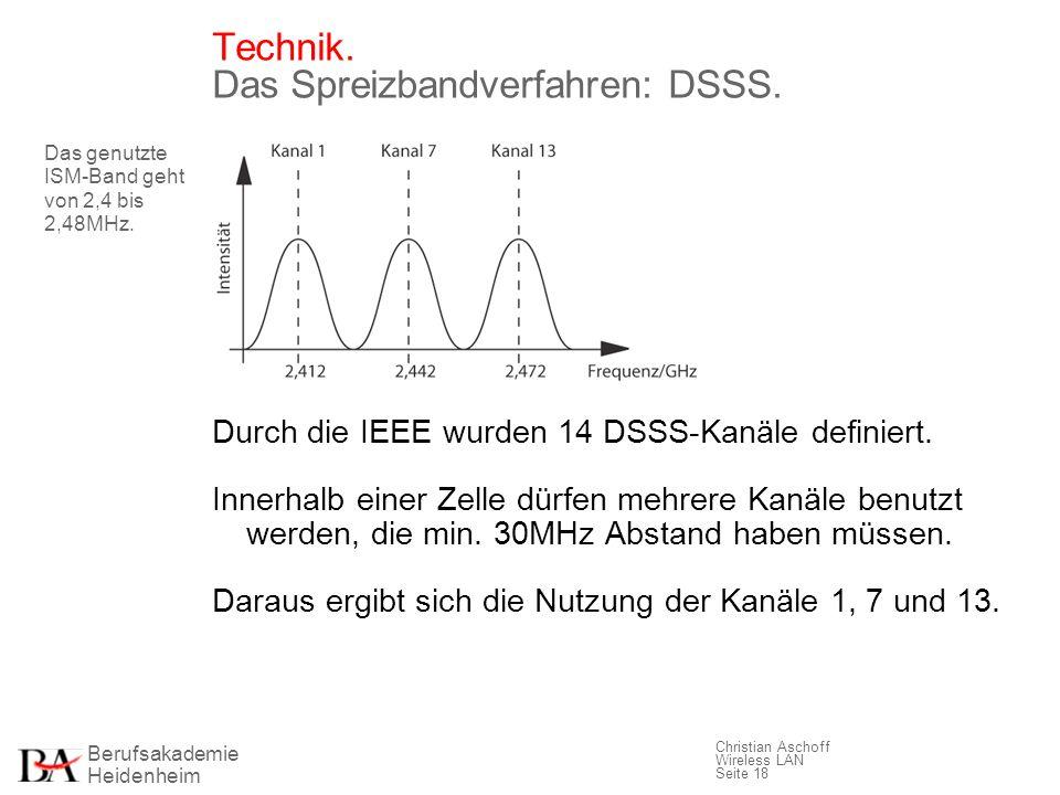 Berufsakademie Heidenheim Christian Aschoff Wireless LAN Seite 18 Technik. Das Spreizbandverfahren: DSSS. Durch die IEEE wurden 14 DSSS-Kanäle definie